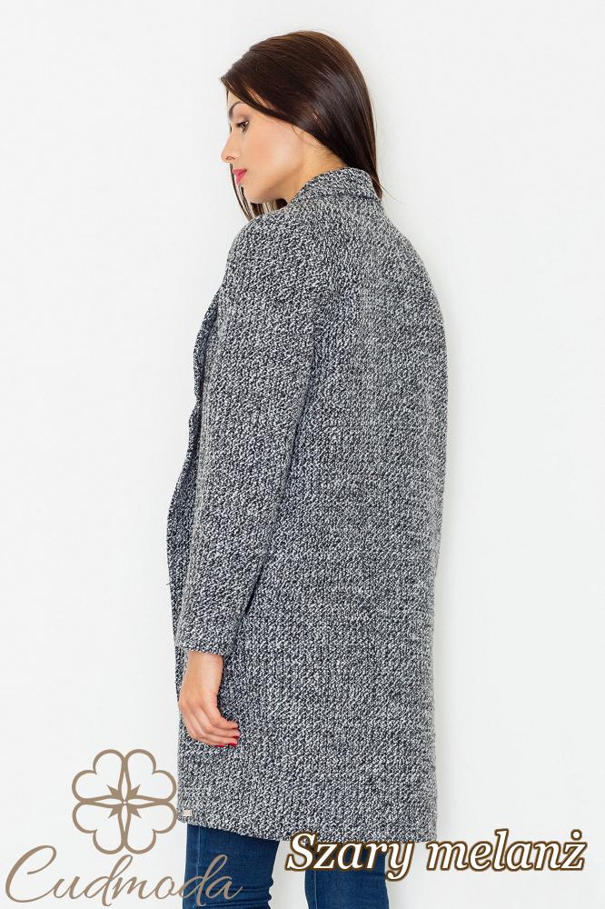 CM2602 Luźny niezapinany płaszcz na jesień - szary melanż