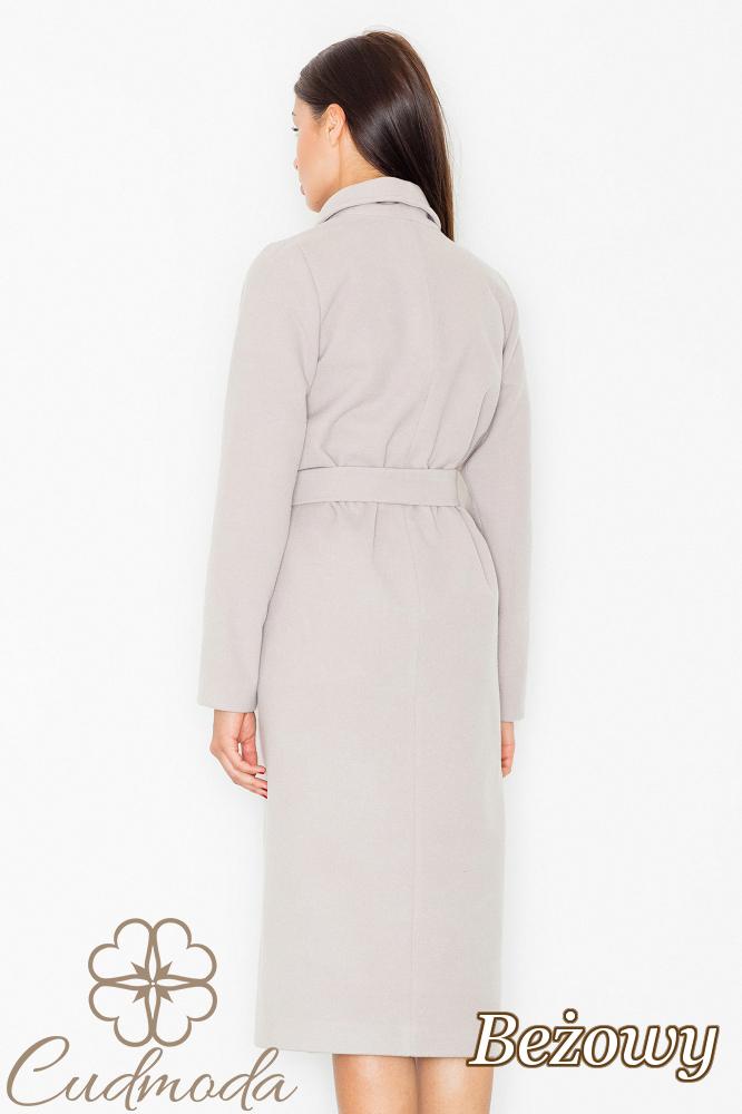 CM2603 Długi ciepły wiązany płaszcz - beżowy