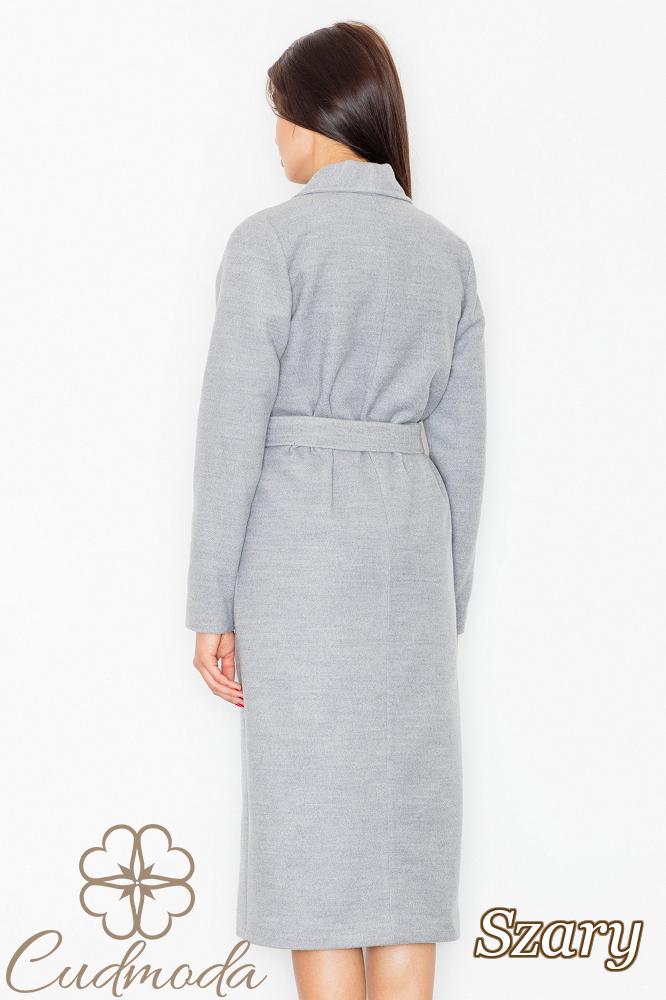 CM2603 Długi ciepły wiązany płaszcz - szary