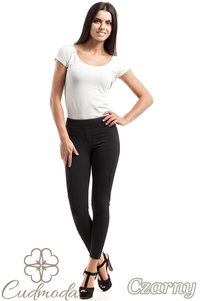 CM2468 Wyszczuplające legginsy ze skórzaną wstawką i przeszyciami - czarne