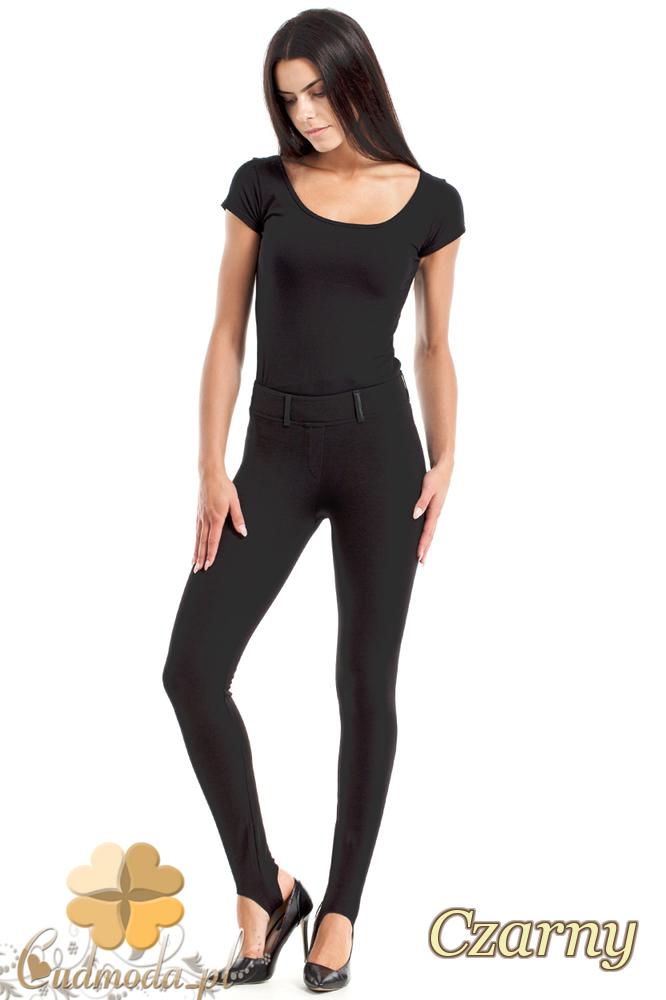 CM2464 Gładkie legginsy ze skórzanymi szlufkami - czarne