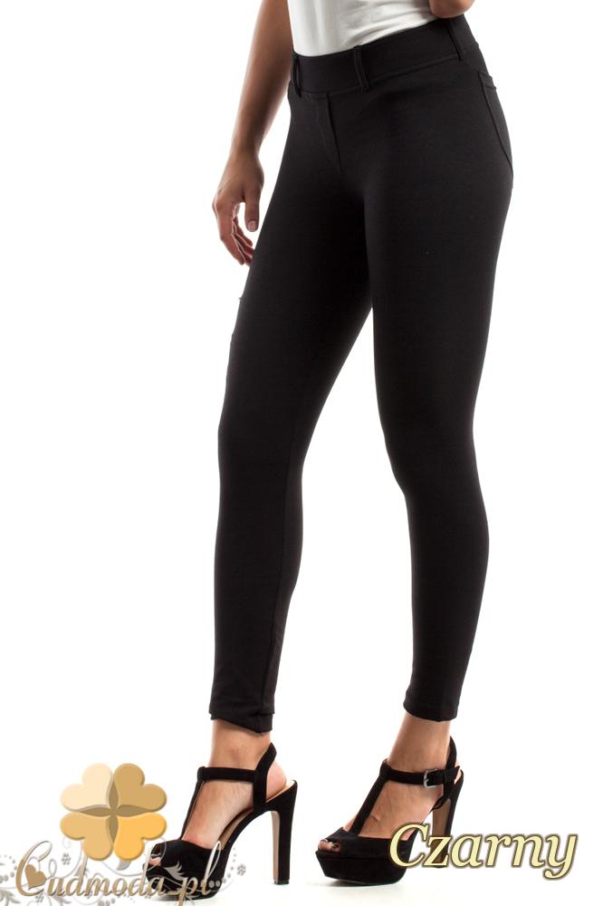 CM2469 Dopasowane legginsy z zamkami na udzie - czarne