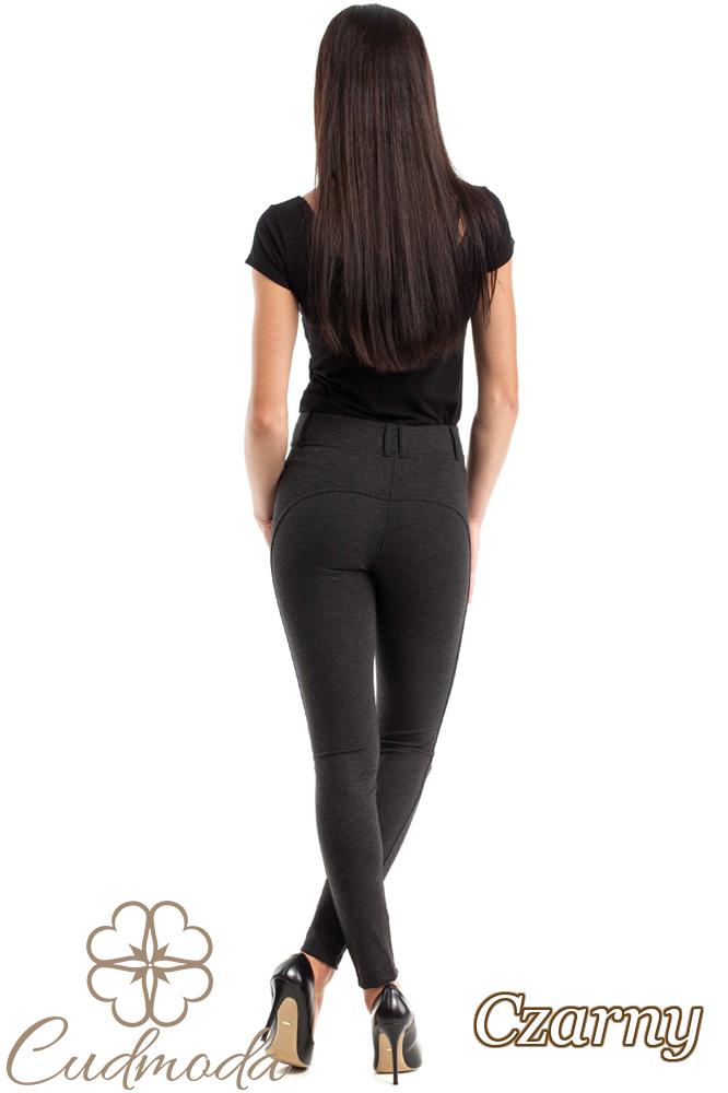 CM2471 Stylowe legginsy z przeszyciami - czarny-melanż