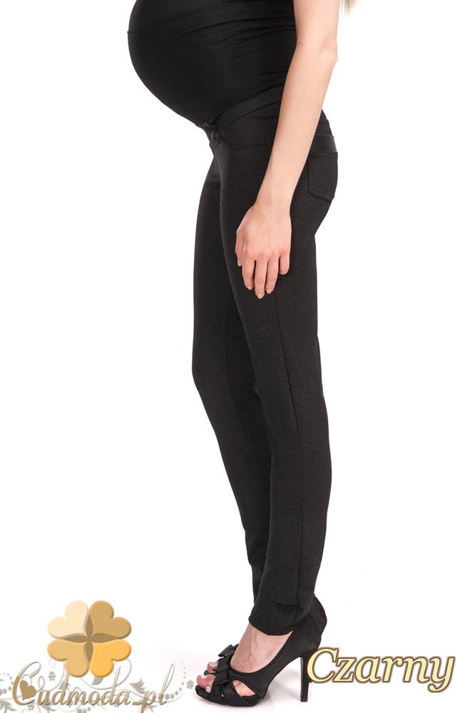 CM2474 Elastyczne legginsy ciążowe ze skórzanymi wstawkami - czarne