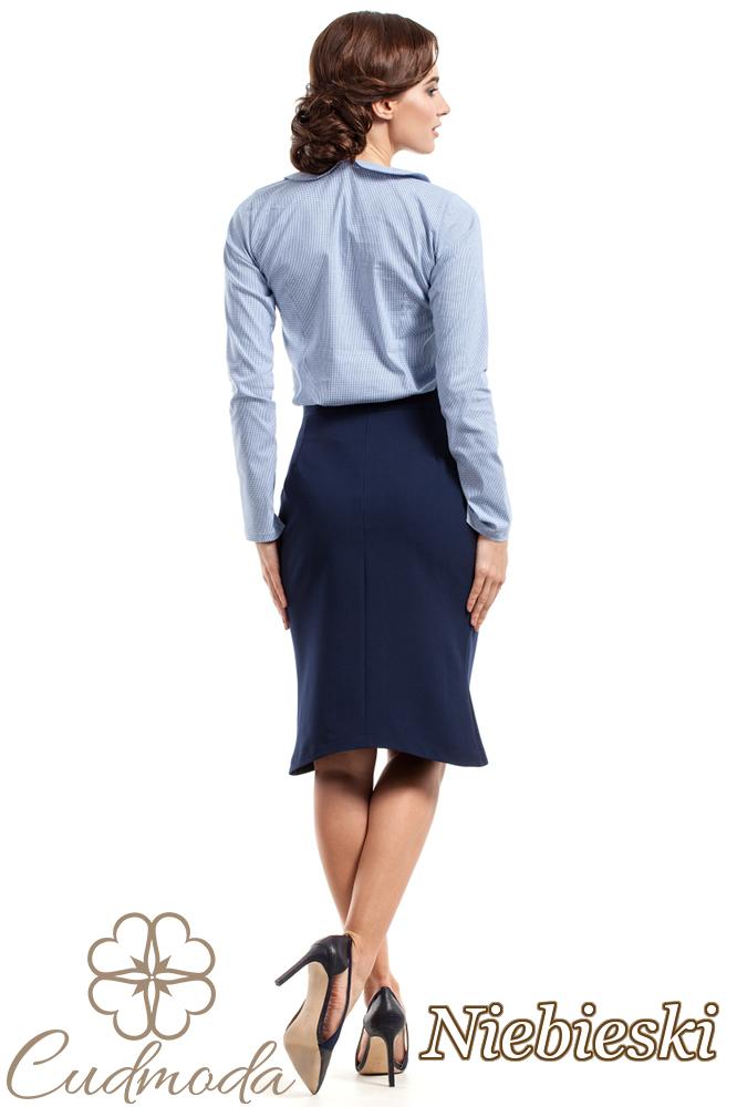 CM2723 Stylowa bluzka z kołnierzykiem - niebieska