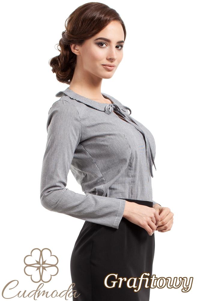 CM2723 Stylowa bluzka z kołnierzykiem - grafitowa