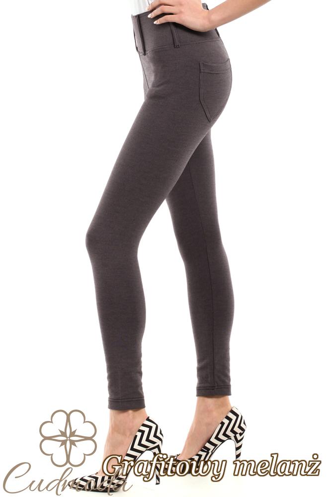 CM0035 Włoskie, klasyczne legginsy z wysokim stanem - grafitowy-melanż
