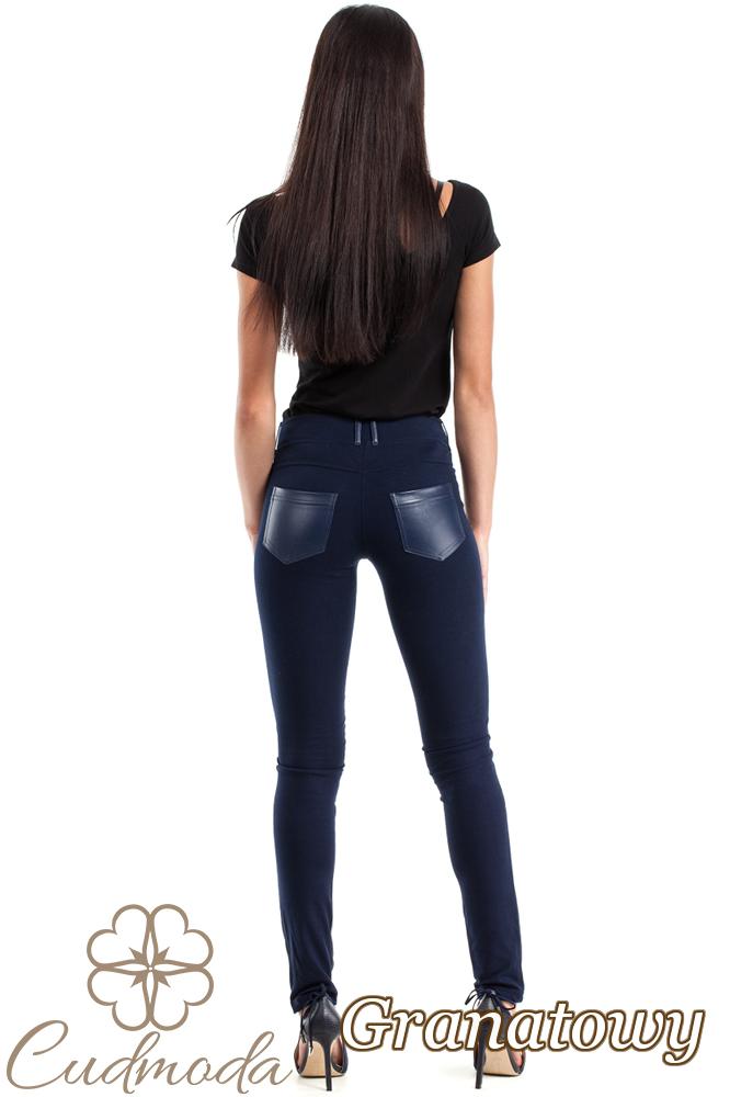 CM0309 Spodnie legginsy przód matowa skóra - granatowe