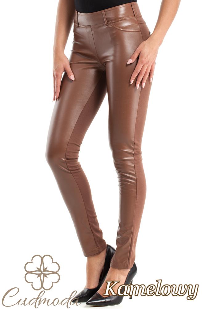 CM0309 Spodnie legginsy przód matowa skóra - kamelowe