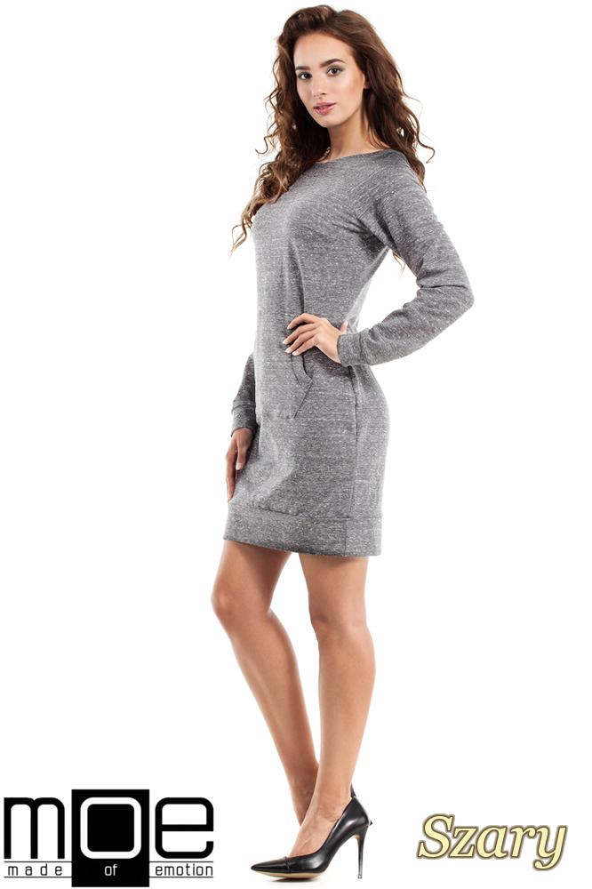 CM2463 Taliowana sukienka kangurka - szara