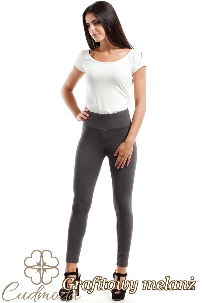 CM1812 Gładkie elastyczne legginsy bez kieszeni - grafitowy-melanż