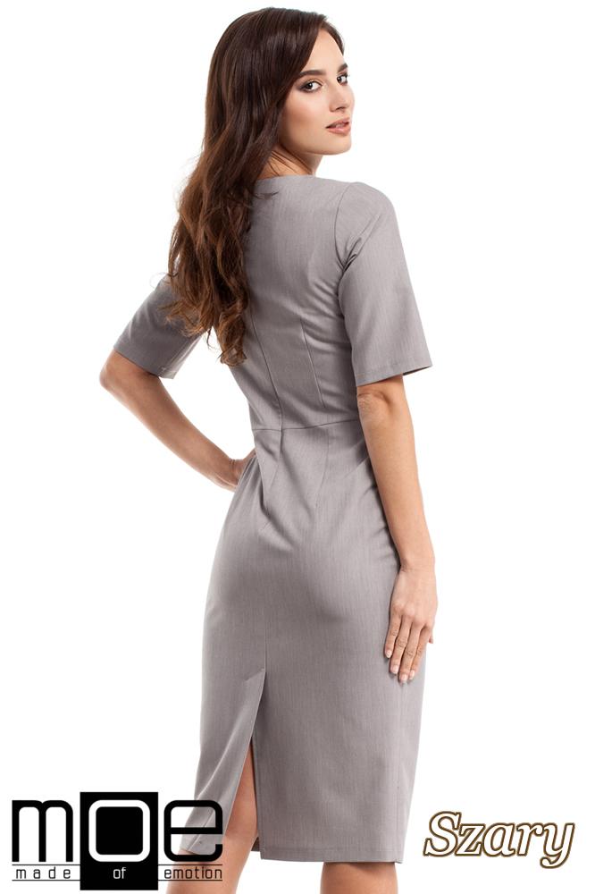 CM2682 Dopasowana sukienka ołówkowa za kolano - szara