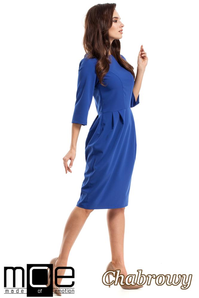 CM2683 Ołówkowa sukienka z zakładkami - chabrowa