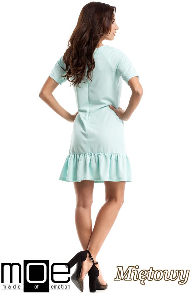 CM2688 Wygodna sukienka z falbanką - miętowa