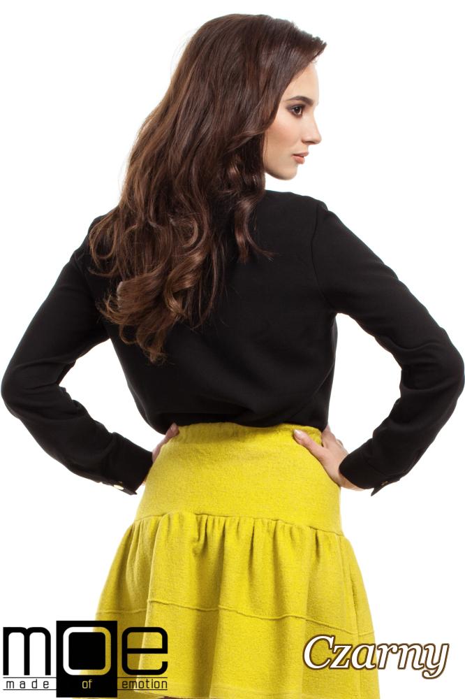 CM2689 Klasyczna koszula ze złotymi napami - czarna