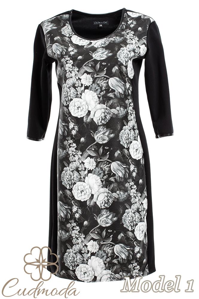 CM2709 Ołówkowa sukienka z motywem - model 1