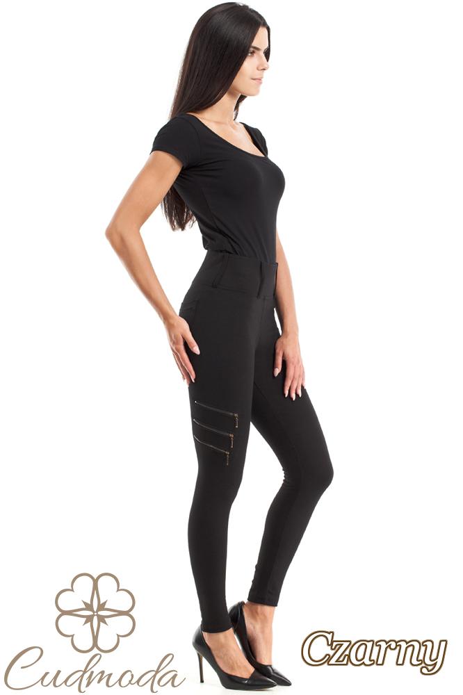 CM2729 Dopasowane legginsy z ozdobnymi zamkami - czarne
