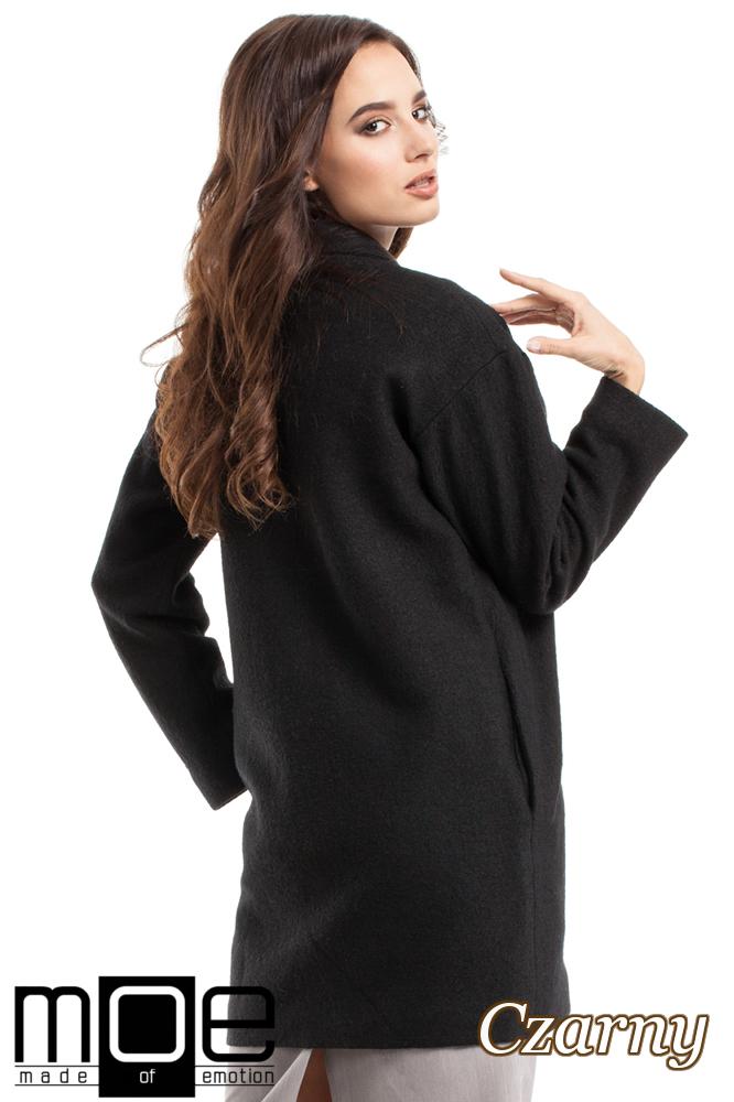 CM2215 Wełniany płaszcz damski zapinany na guzik - czarny