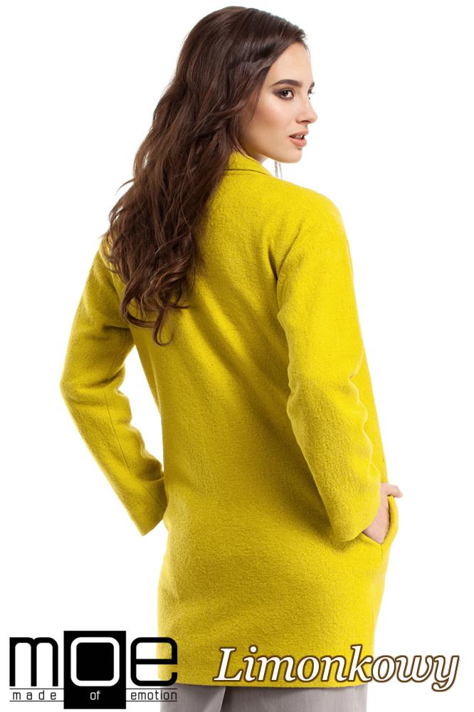 CM2215 Wełniany płaszcz damski zapinany na guzik - limonkowy