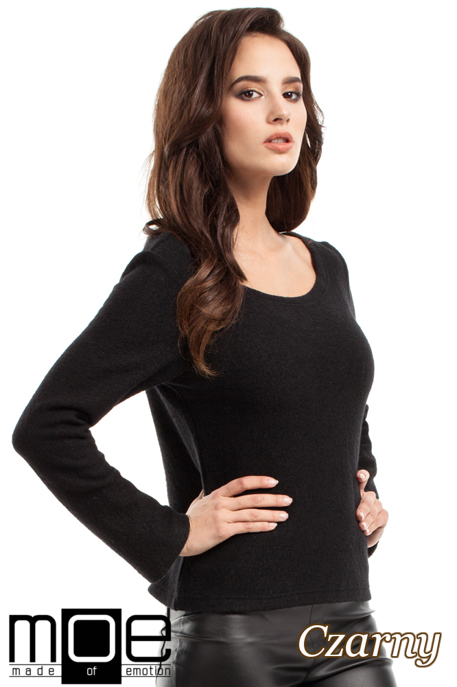 CM2216 Wełniany sweter damski z długim rękawem - czarny