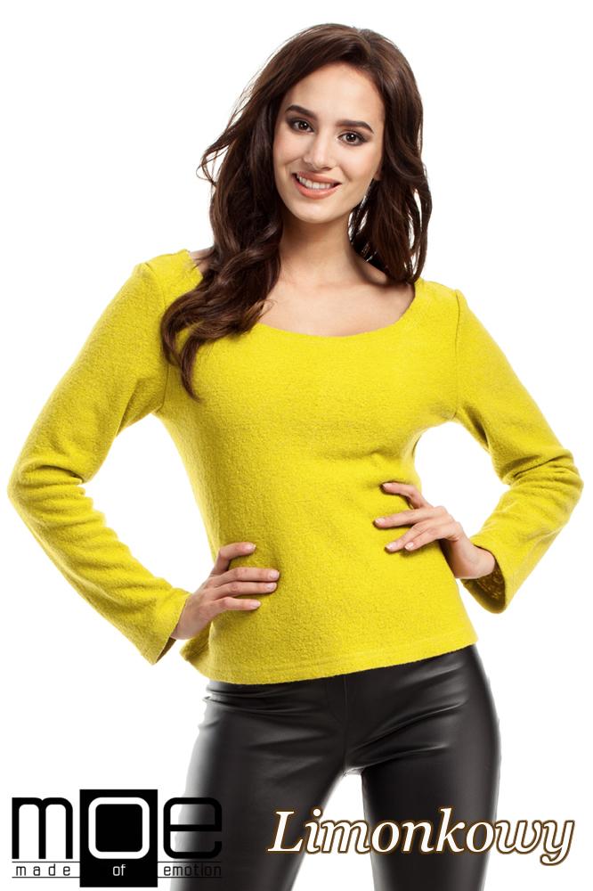 CM2216 Wełniany sweter damski z długim rękawem - limonkowy