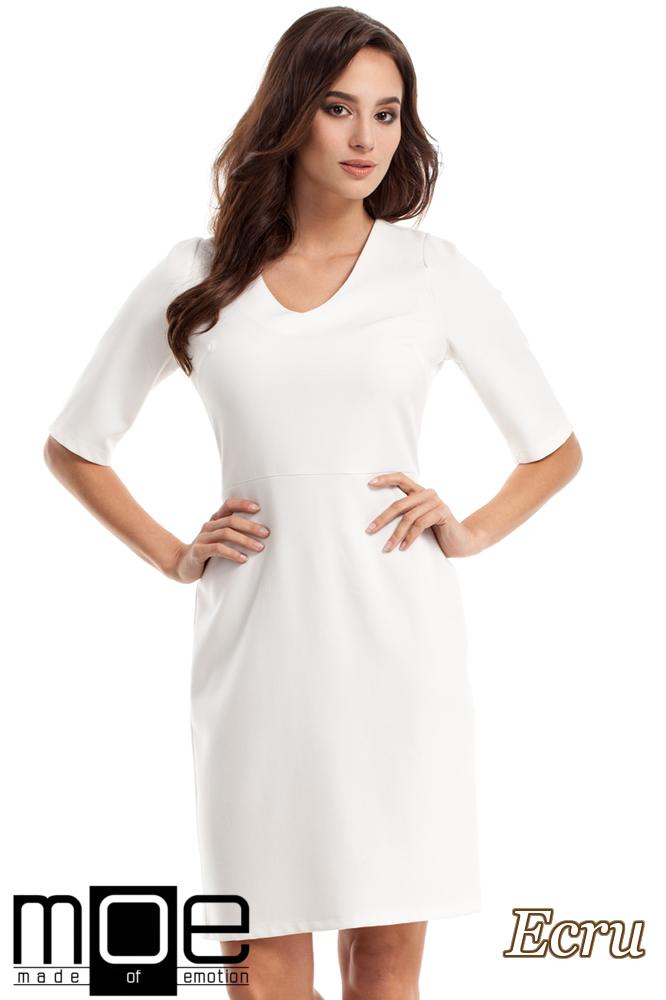 CM2217 Ołówkowa sukienka z krótkim rękawem - ecru