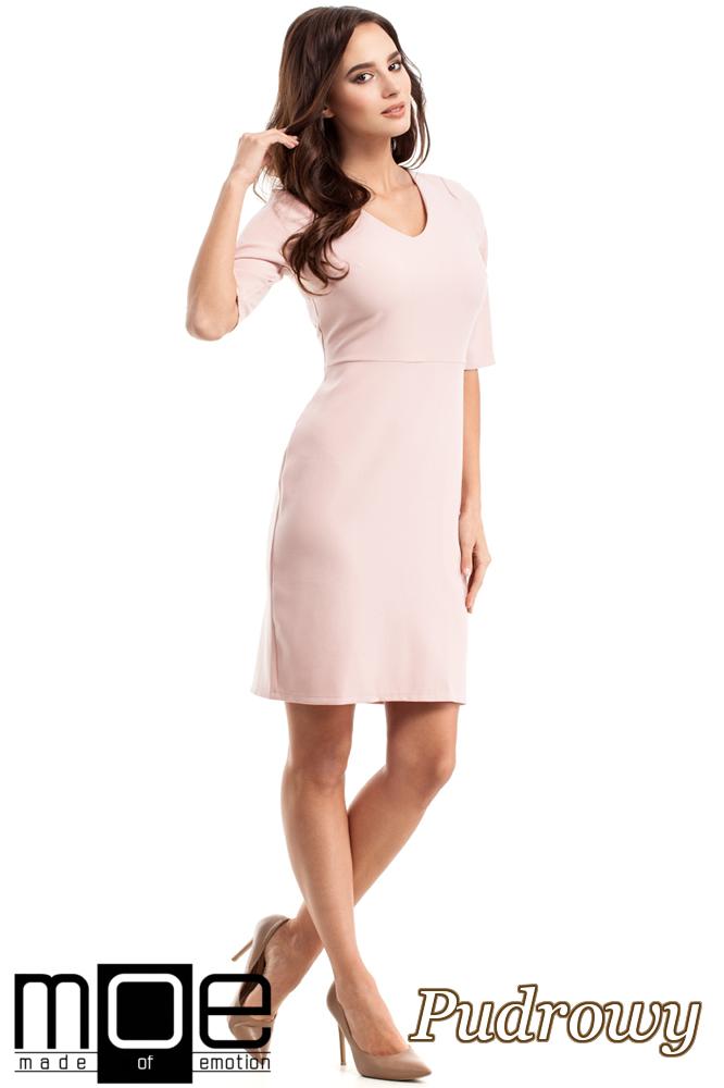 CM2217 Ołówkowa sukienka z krótkim rękawem - pudrowa