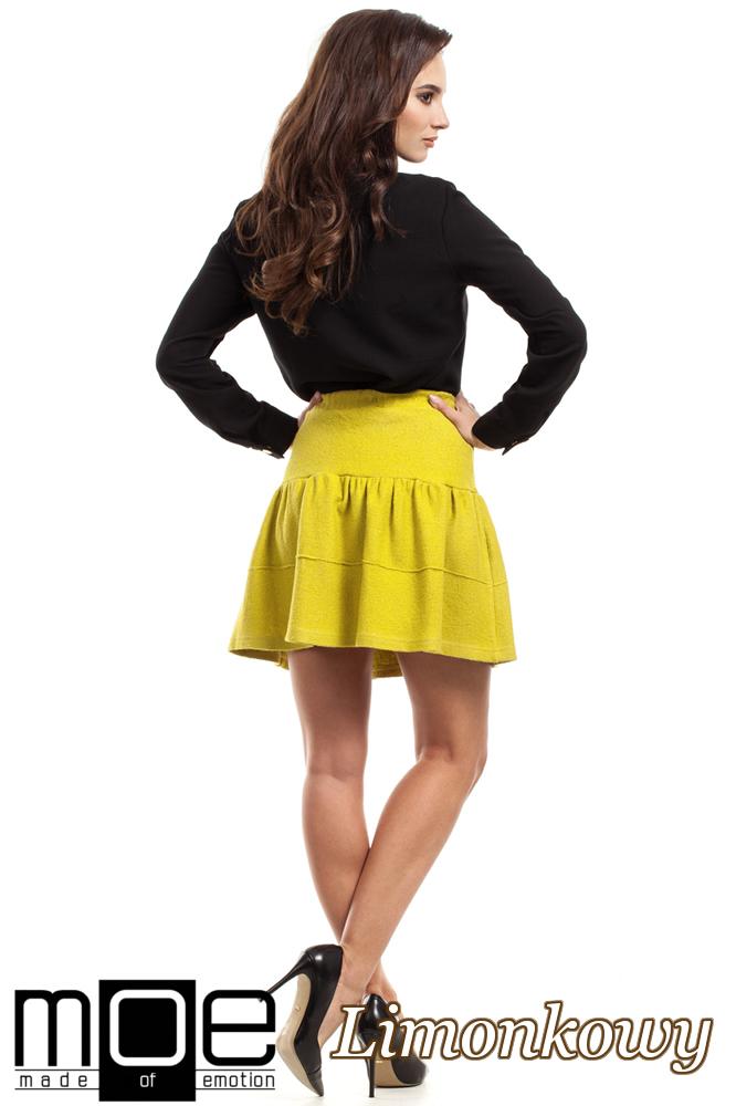 CM2218 Wełniana spódniczka mini - limonkowa