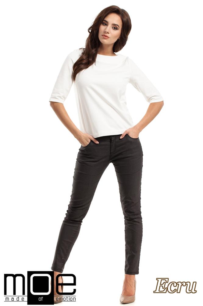 CM2219 Dresowa bluzka damska z wiązaniem na plecach - ecru