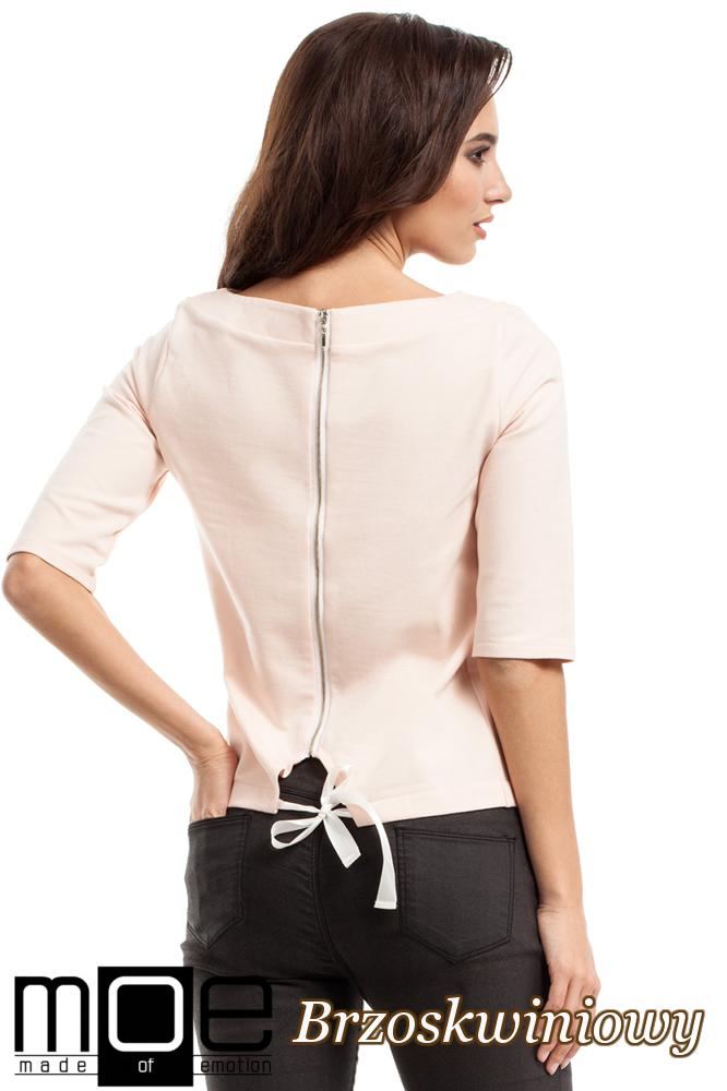 CM2219 Dresowa bluzka damska z wiązaniem na plecach - brzoskwiniowa