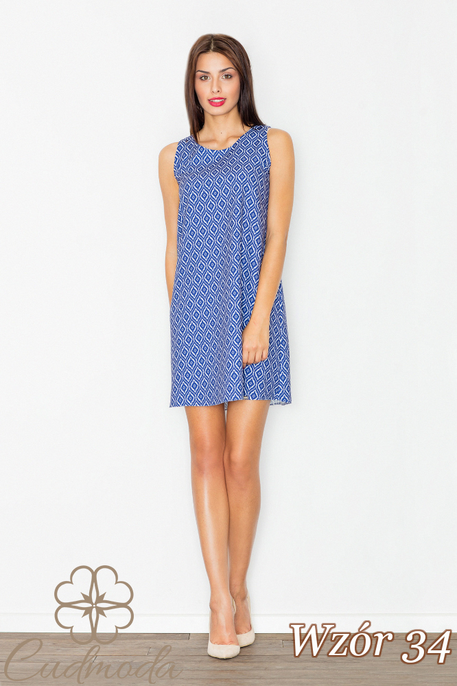 CM2733 Sukienka mini bez rękawów - wzór 34