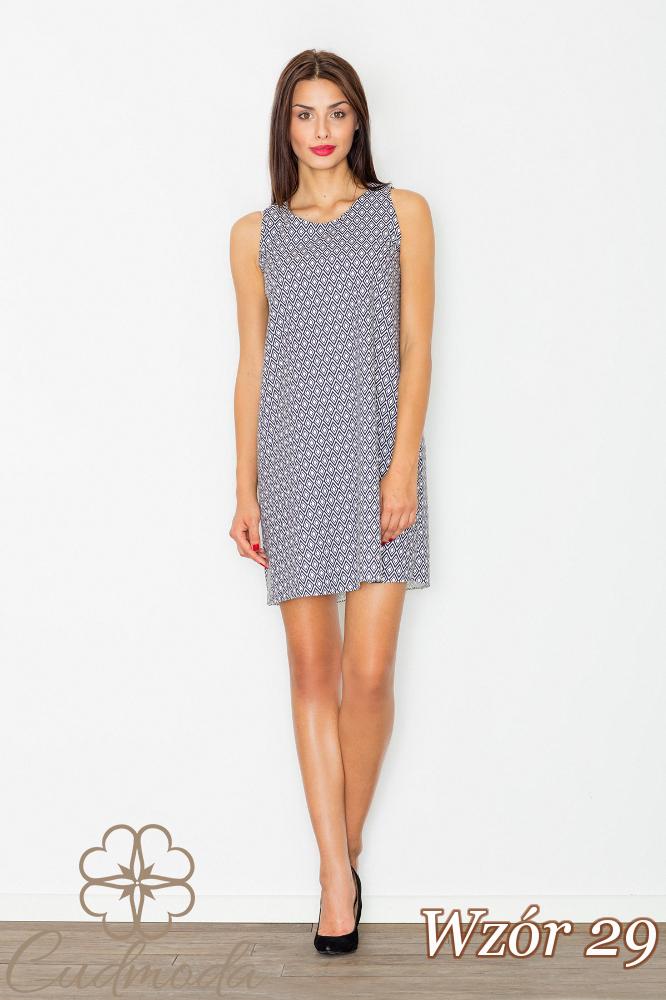 CM2733 Sukienka mini bez rękawów - wzór 29
