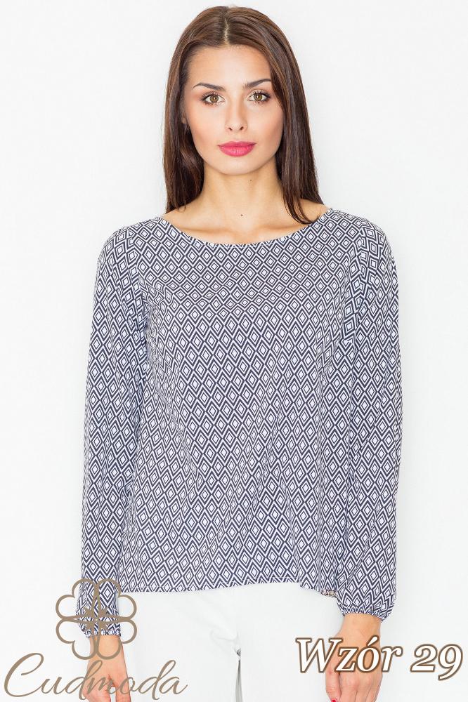 CM2735 Klasyczna bluzka z długim rękawem - wzór 29