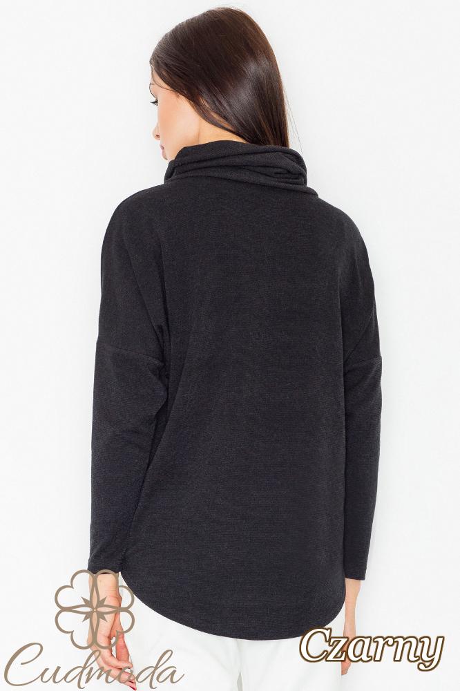 CM2736 Sweter damski z golfem - czarny