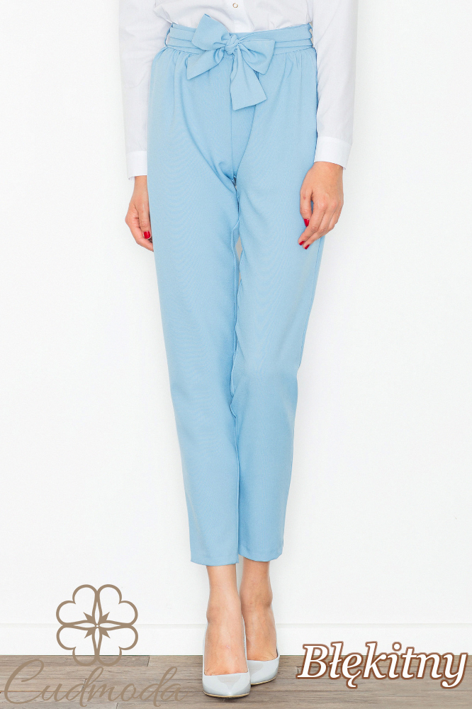 CM2738 Eleganckie spodnie długości 7/8 - błękitne
