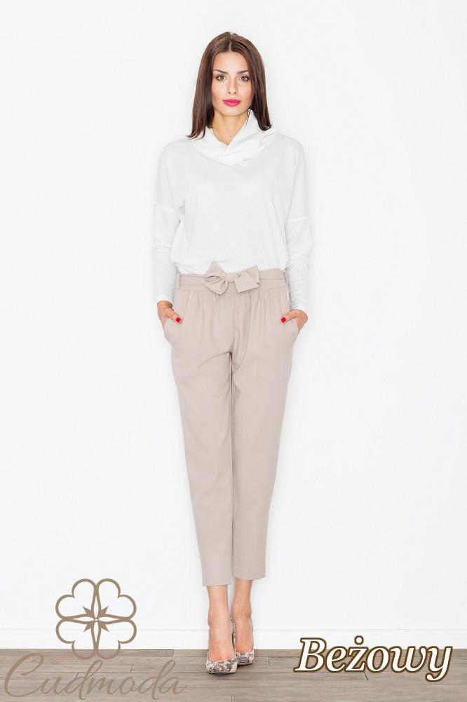 CM2738 Eleganckie spodnie długości 7/8 - beżowe