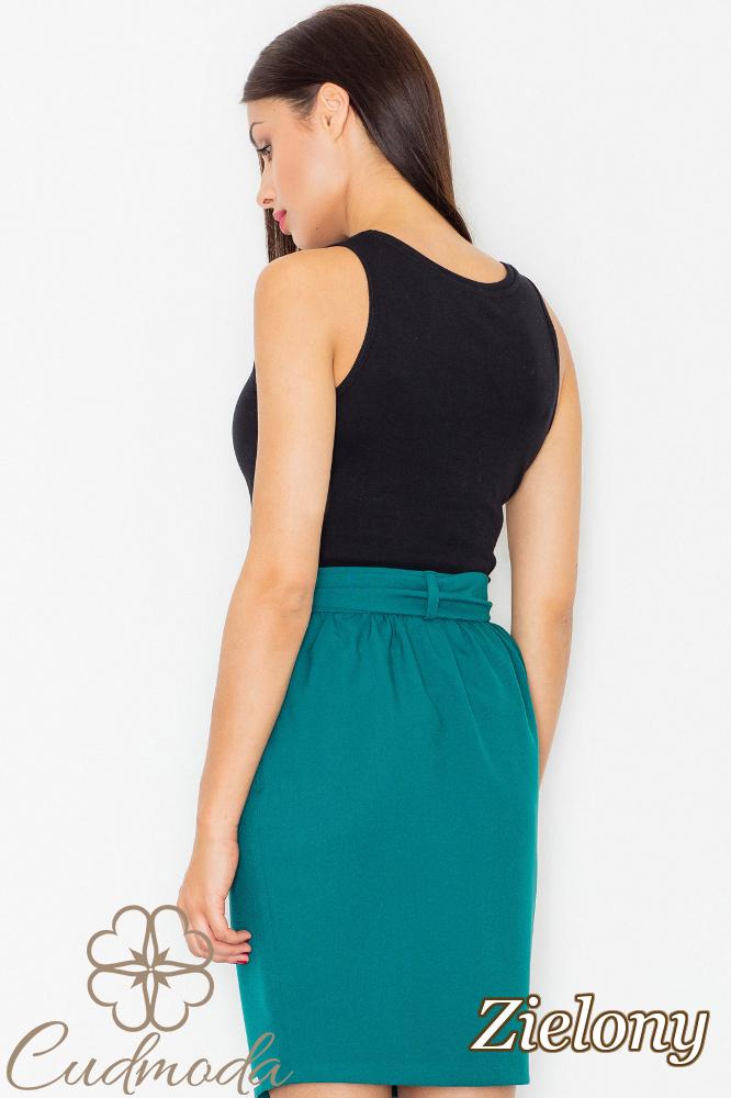 CM2739 Spódnica mini z szarfą w pasie - zielona