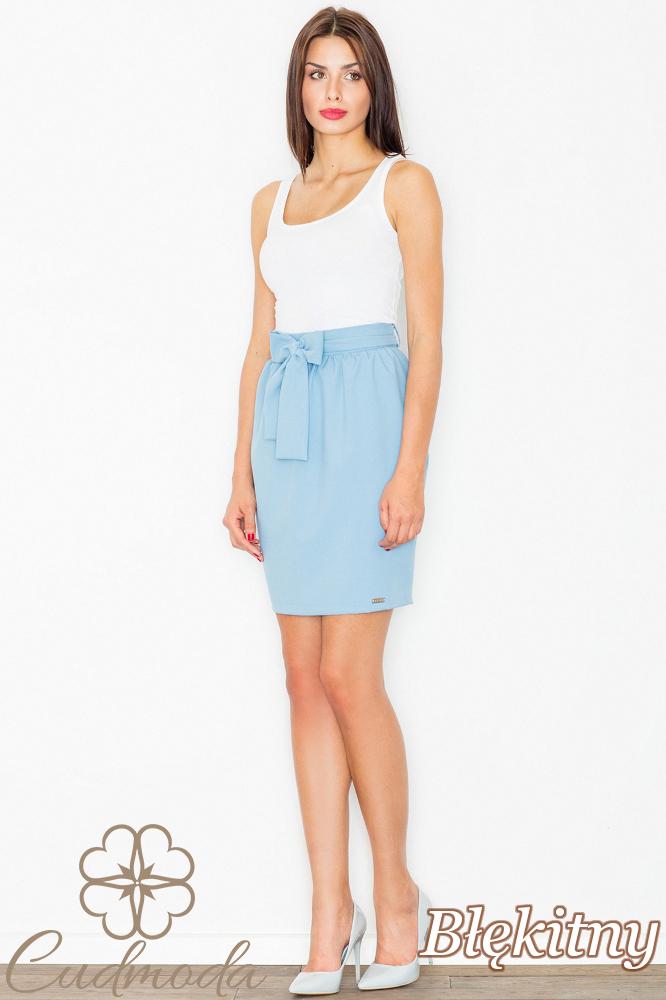 CM2739 Spódnica mini z szarfą w pasie - błękitna