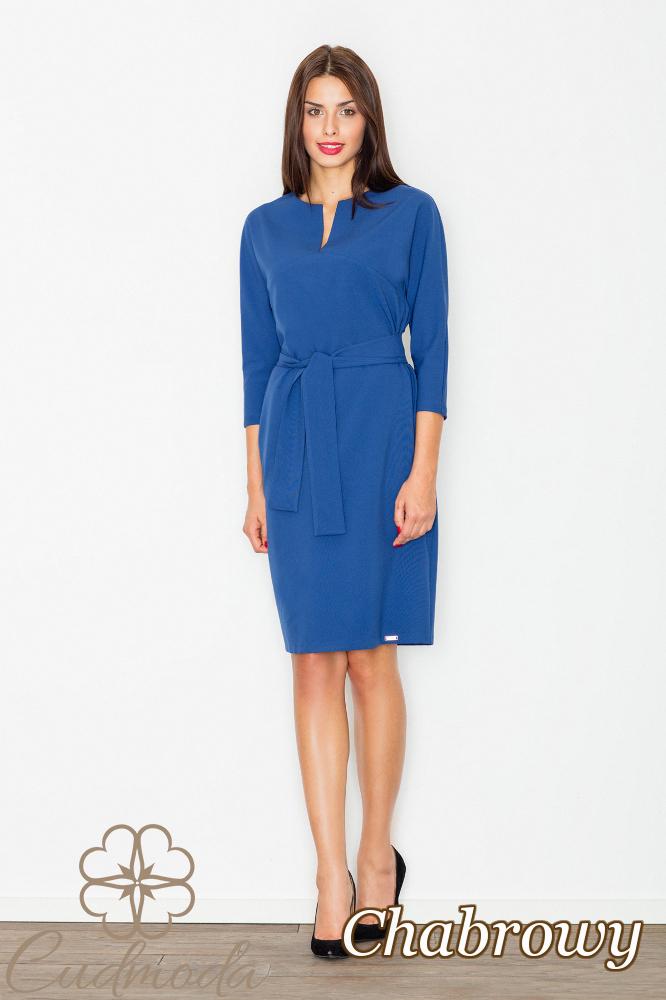 CM2740 Elegancka sukienka przewiązana szarfą - chabrowa