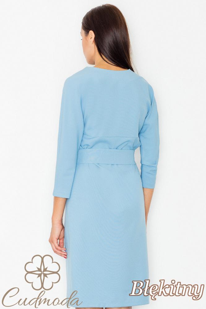 CM2740 Elegancka sukienka przewiązana szarfą - błękitna
