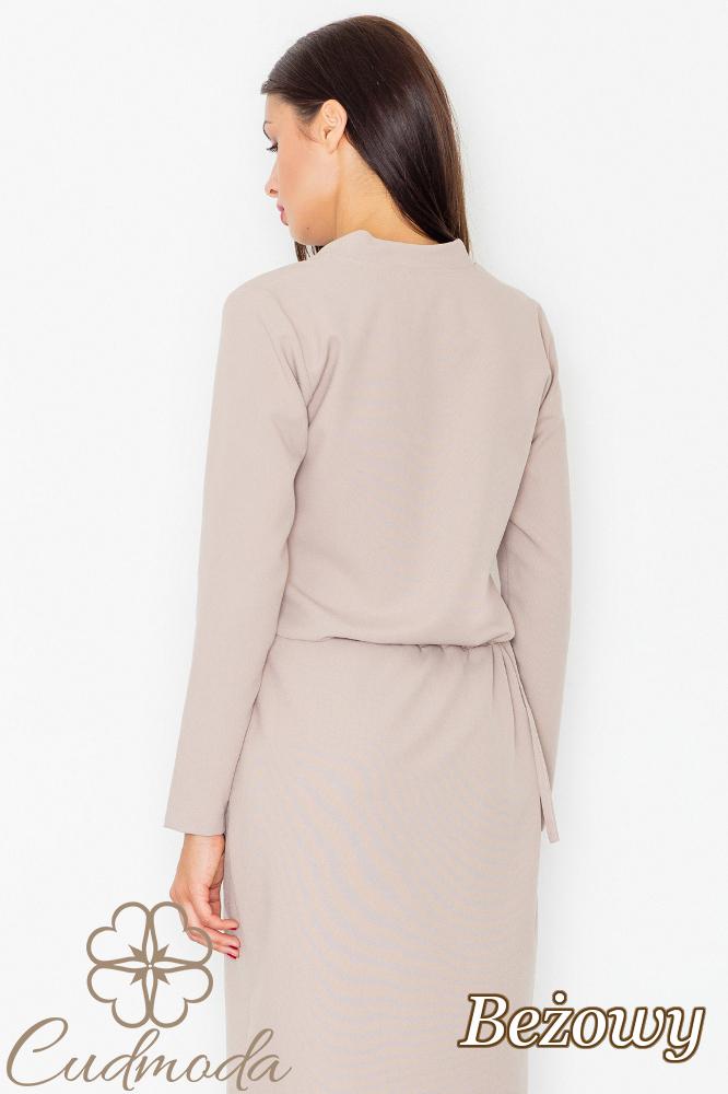 CM2740 Elegancka sukienka przewiązana szarfą - beżowa