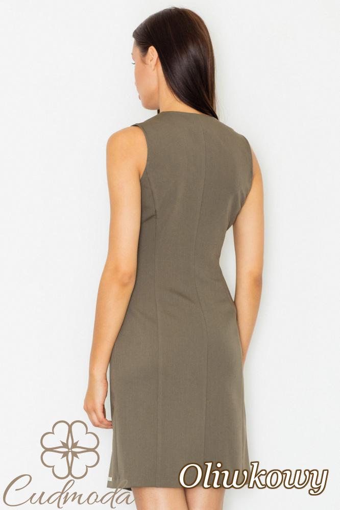CM2743 Nowoczesna sukienka zapinana na guziki - oliwkowa