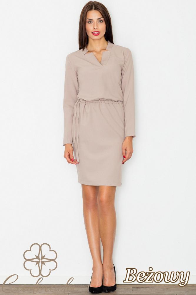 CM2744 Przewiązana sukienka biurowa - beżowa