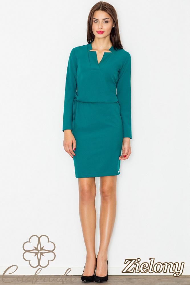 CM2744 Przewiązana sukienka biurowa - zielona