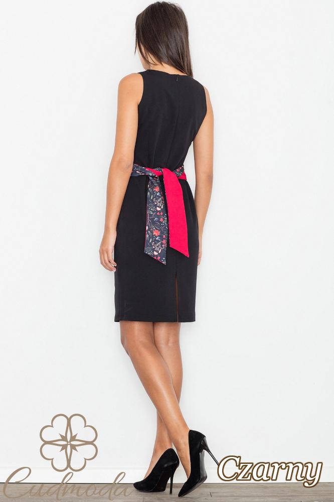 CM2745 Ołówkowa sukienka bez rękawów - czarna