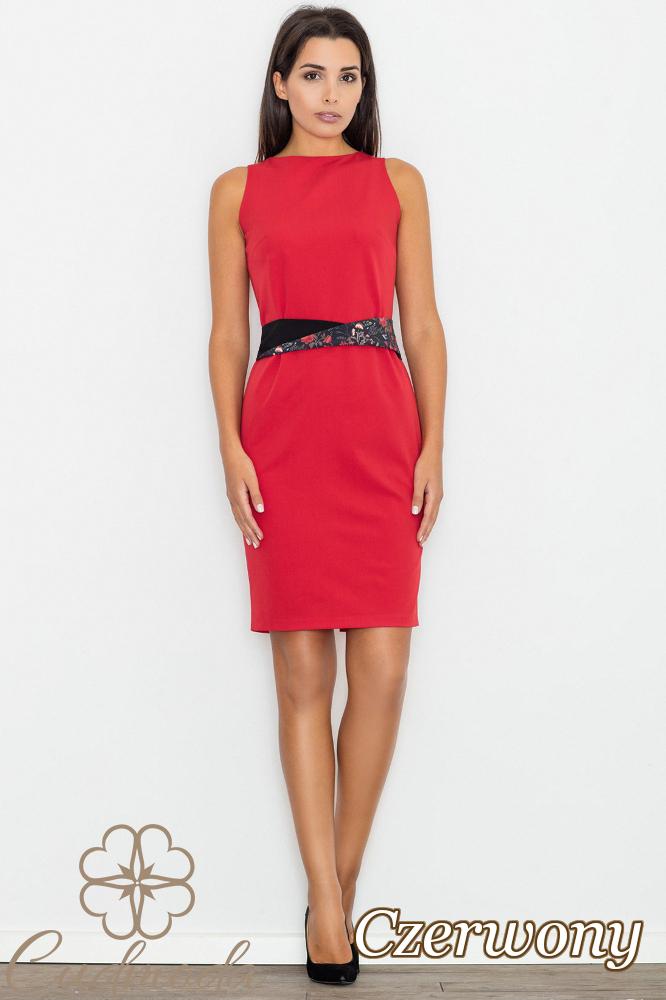 CM2745 Ołówkowa sukienka bez rękawów - czerwona
