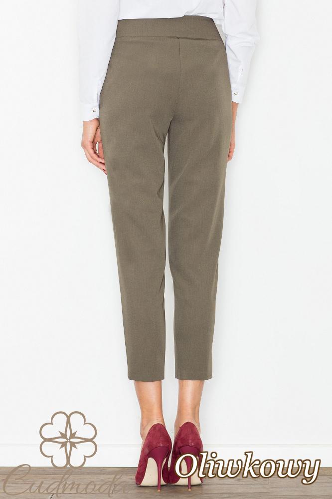 CM2742 Modne eleganckie spodnie damskie - oliwkowe