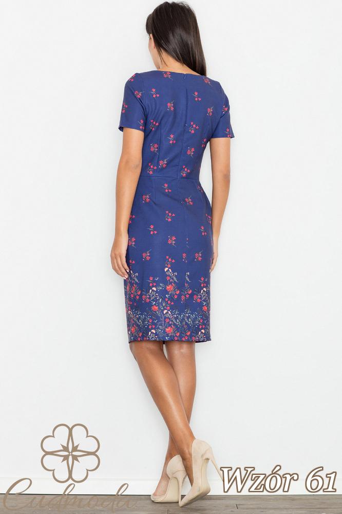 CM2747 Ołówkowa sukienka z krótkim rękawem - wzór 61