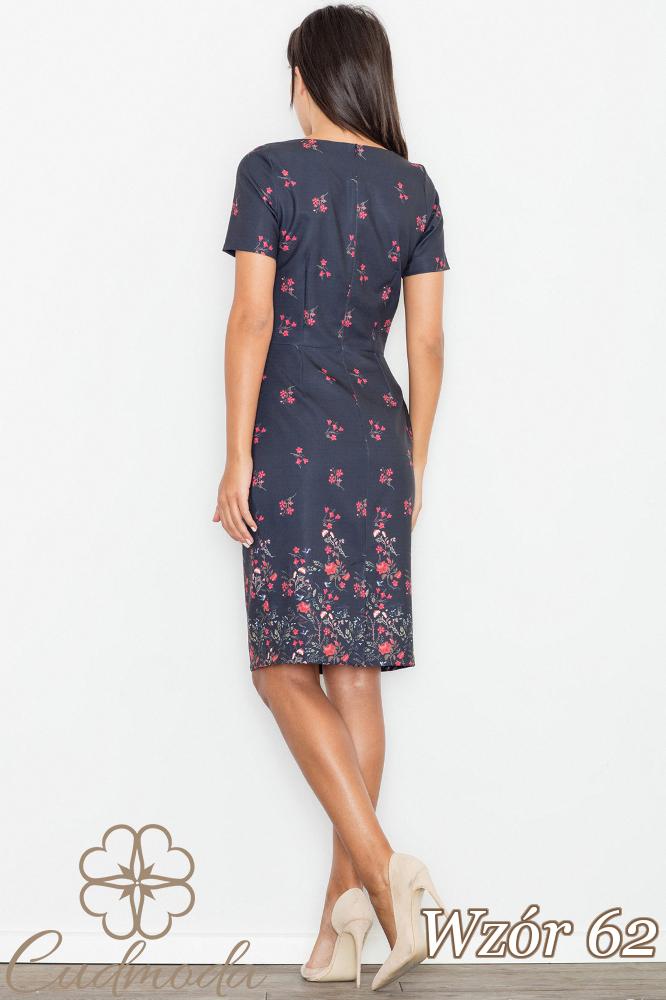 CM2747 Ołówkowa sukienka z krótkim rękawem - wzór 62