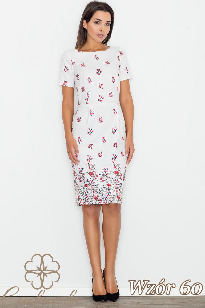 CM2747 Ołówkowa sukienka z krótkim rękawem - wzór 60